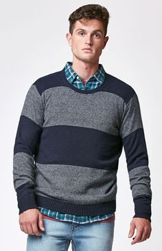 Channels Striped Crew Neck Sweater