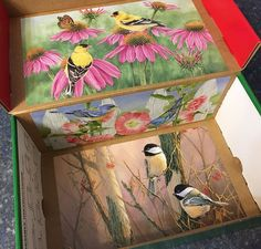 Decorated box with bird pictures from calendars Operation Christmas Child, Bird Pictures, Shoe Box, Kids Christmas, Charity, Decorative Boxes, Children, Painting, Art