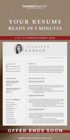 Minimalist and professional resume template that will help to get the job of your dreams faster! Easy to customize on Word and Apple Pages. Designed by an experienced CreatedResume team these resume templates will catch an eye and help you outstand from the others. #resume #resumetemplate #modernresume #resumeformat #resumedesign #resumetips #createdresume #cv #cvtemplatepeople Simple Resume, Modern Resume, Modern Cv Template, Executive Resume, Microsoft Word 2007, Good Resume Examples, Wish You The Best, Resume Format, Cover Letter Template