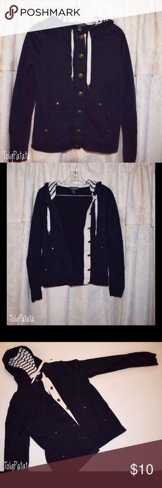 Ralph Lauren Button up Hooded Jacket Sporty Preppy Button up Hooded Sweat jacket. Navy blue white details stripped hood Lauren Ralph Lauren Jackets & Coats