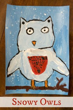 Snowy Owl Art Project to go with The Little White Owl at Reading Confetti Classroom Art Projects, Art Classroom, Classroom Ideas, Snow Theme, Winter Theme, Kindergarten Art Lessons, Snow Activities, Teaching Art, Student Teaching