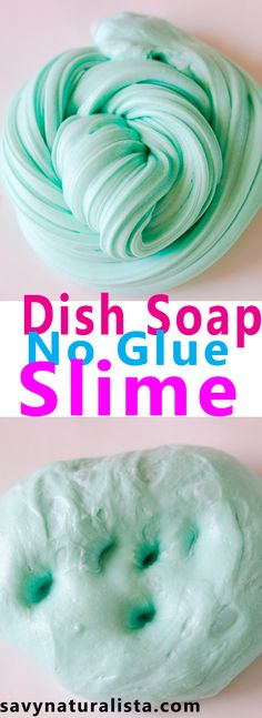Make this easy no glue dish soap slime with only three ingrediants and no BORAX!
