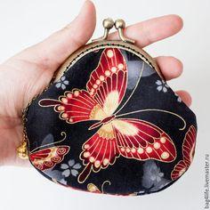 Кошельки и визитницы ручной работы. Ярмарка Мастеров - ручная работа. Купить Красные бабочками (2) кошелек с фермуаром. Handmade. Разноцветный