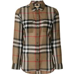 Burberry House Check shirt ($435) ❤ liked on Polyvore featuring tops, brown, brown long sleeve top, long sleeve cotton shirts, long sleeve tops, checkerboard shirt and long-sleeve shirt