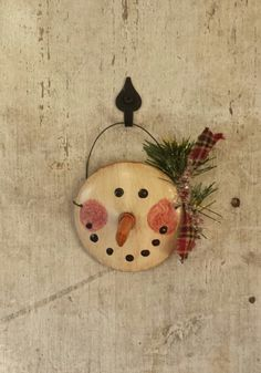 Primitive Country Snowman on Vintage Coffee Pot by FlatHillGoods