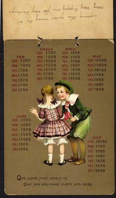 TWO BY TWO CALENDAR FOR 1910