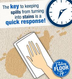 How do you prevent spills from turning into stains? A quick response! Don't wait, soak up spills immediately!