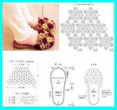 Una locura de ideas: Pantuflas de ganchillo con diseño de flores, abiertas por el talón.