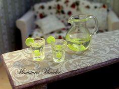 Miniature Dollhouse Lemonade Set 112 by Minicler on Etsy, $16.87