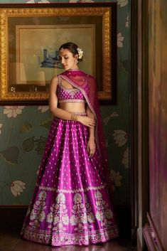 Pink And Silver Embroidered Anita Dongre Lehenga Designer Bridal Lehenga, Bridal Lehenga Choli, Indian Lehenga, Indian Gowns, Indian Attire, Indian Ethnic Wear, Brocade Lehenga, Simple Lehenga Choli, Latest Bridal Lehenga