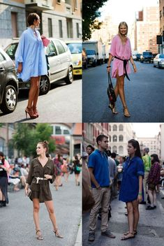 The Sartorialist is thinking about Spring in Shirt dresses. I'm fond of the pink one ... and the one in denim also.