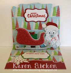 Karen Aicken using the Pop it Ups Sleigh Gift Card Holder, Honey the Bear, Props 5, Katie Labels, Agatha Edges and Merry & Bright Clear Stamps and die sets by Karen Burniston for Elizabeth Craft Designs. - Glittery Sleigh Pop-Up Card