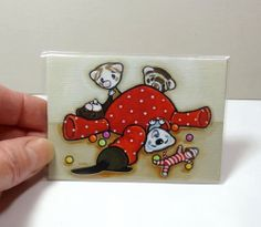 Art by Shelly Mundel - Ferrets Playing in the Octopus - Canvas ACEO Print #FerretArt