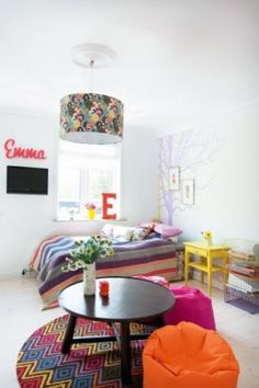 modern & fun teen room by mavis #tween  love the white walls and the bursts of color