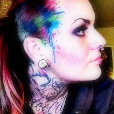 head ink splash tattoo. Model: Electric Linda.