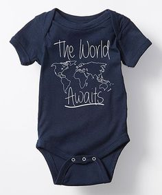 Look what I found on #zulily! Navy 'The World Awaits' Bodysuit - Infant #zulilyfinds
