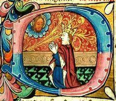 Iluminura, letra D, com Rei Davi.  Época Medieval, sem indicação mais precisa.