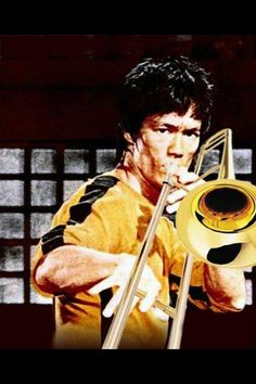 Bruce Lee playing the trombone