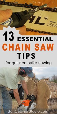 Chainsaw tips on maintenance operate use safety bar oil tension gauge pitch kickback chain brake chain catcher front hand guard dull drive length
