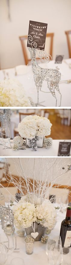 Winter wedding centerpieces. White hydrangea and reindeers to hold the menus. Loved by we.artanna.be