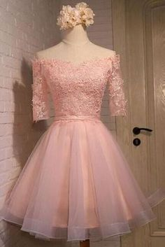Elegant Short Prom Homecoming Dress Sweetheart Half Sleeves Top Applique Tulle Knee Length A Line Cocktail Graduation School Gowns Custom