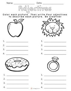 Today I& going to share with you one of my favorite lessons to teach!It& the HOOK I use to begin our unit on adjectives.I gather my kiddos on the carpet, and show them my brown paper bag. Kindergarten Writing, Teaching Writing, Student Teaching, Teaching English, First Grade Writing, 2nd Grade Reading, Adjectives Activities, Adjectives For Kids, Grammar Activities