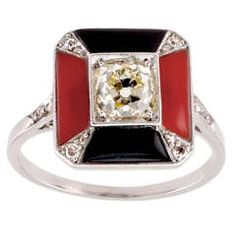 Elegant Art Deco Coral Diamond and Onyx Ring | From a unique collection of vintage fashion rings at http://www.1stdibs.com/jewelry/rings/fashion-rings/