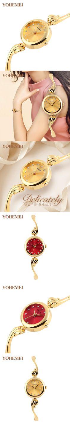 YOHEMEI Brand Luxury Gold Watch Women Watches Ladies Dress Analog Clock Woman Alloy Strap Casual Quartz Watch relogio feminino