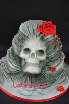 #skull in the cake - by lucia and santina alfano @ CakesDecor.com - cake decorating website