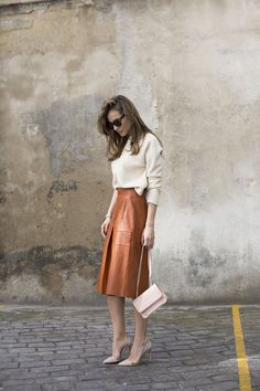 CLASSIC[spring]: leather skirt; basic sweater