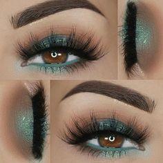 Teal vibes by New Year's Makeup, Day Makeup, Makeup Goals, Love Makeup, Skin Makeup, Makeup Inspo, Eyeshadow Makeup, Makeup Inspiration, Makeup Tips