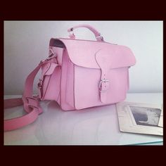 Pink leather camera bag / case by Grafea for DSLR camera NEED THIS!