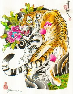 Japanese Embroidery Tiger The Aggressor by Cody Meyer Chinese Tiger Tattoo Canvas Fine Art Print - Japanese Tiger Tattoo, Japanese Tattoo Designs, Animal Art Prints, Fine Art Prints, Tatoo Tiger, Tiger Stripe Tattoo, Chinese Tiger, Chinese Art, Rolled Paper Art