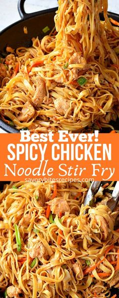Healthy Recipes, Stir Fry Recipes, Asian Recipes, Cooking Recipes, Oriental Recipes, Chicken Stir Fry With Noodles, Stir Fry Noodles, Chinese Fried Noodles Recipe, Recipes With Rice Noodles
