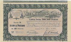 Automoviles de Aragon S. A. - #scripomarket #scriposigns #scripofilia #scripophily #finanza #finance #collezionismo #collectibles #arte #art #scripoart #scripoarte #borsa #stock #azioni #bonds #obbligazioni