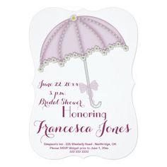 "Pink Umbrella Bridal Shower Invitation 5"" X 7"" Invitation Card"