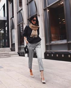 I love the professional tapered, ankle-length trousers and the touch of comfy-casual with the scarf.