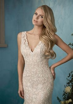 Beautiful Wedding Dress! 2017 Lace and Tulle Over Satin Fit and Flare Mermaid Gown with an Illusion Lace Deep V-Neckline Over Sweetheart Interior, Illusion Lace Tank Straps, Lace Fitted Bodice Past Hips, Lightly Padded Bust Cups and Interior Boning, Lace Applique on Tulle Fit and Flare Mermaid Skirt, Cathedral Train, Illusion Lace Mid V-Back Over Low Back Interior with Covered Buttons. #vneckweddingdresses #sexyweddingdresses #laceweddingdresses #mermaidweddingdresses #2017weddingdresses…