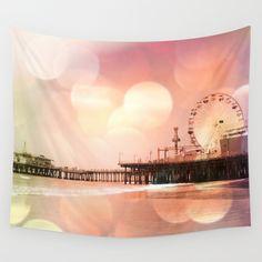 Sparkling pink Santa Monica Pier Wall Tapestry #sold on #society6