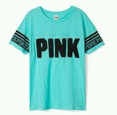 Victorias Secret PINK Athletic Tee Sea Blue Bling Black Sequin Logo Large #VictoriasSecret #GraphicTee