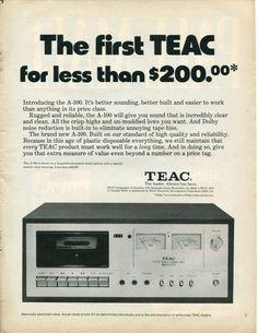 1976 TEAC A 100 Casette Deck Audio B Retro Vintage Original Ad