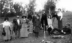 Group of men and women photographed with their cameras, possibly in the Redcliffe area, Australia 1910-1920