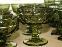 Green glassware- champagne glasses or sherbet cups,  for a lovely vintage green wedding - Southern Vintage Rentals
