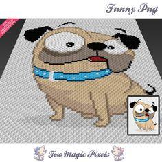 Funny Pug crochet blanket pattern; knitting, cross stitch graph; pdf download;