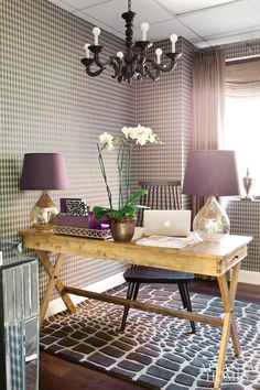 I like how the writing desk is placed, purple rustic glamour glam home office