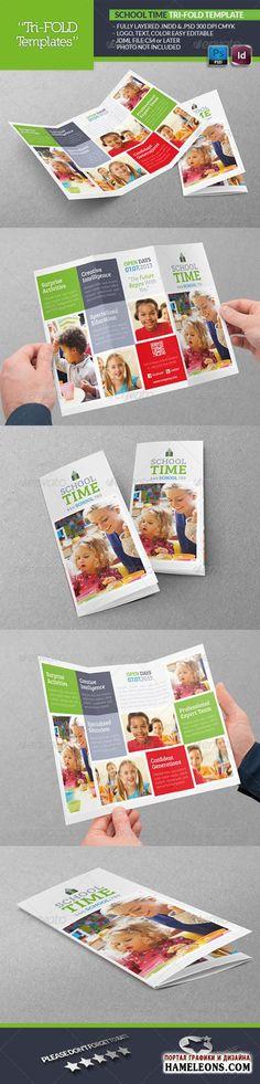 3-х фальцевая брошюра/буклет для школ - исходники для Фотошоп | PSD - School Time Tri-Fold Template