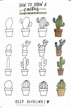 25 Easy Doodle Art Drawing Ideas For Your Bullet Journal – Brighter Craft Bullet Journal Writing, Bullet Journal Aesthetic, Bullet Journal Ideas Pages, Bullet Journal Inspiration, Bullet Journals, Drawings Pinterest, Easy Doodle Art, Cactus Drawing, Succulents Drawing