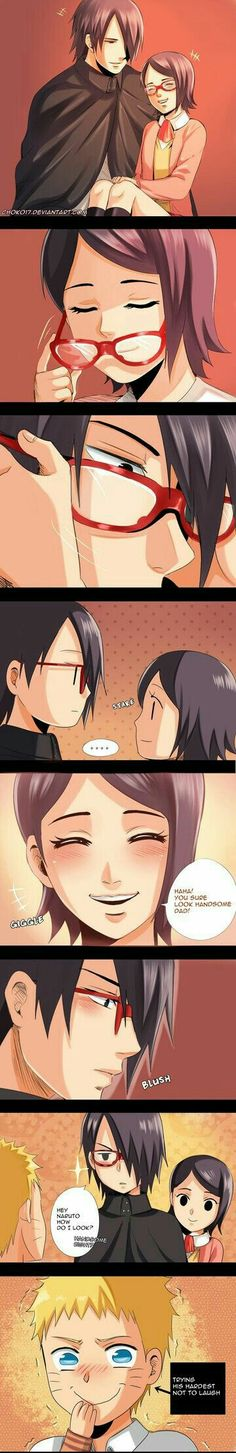 Sasuke, Sarada, Naruto, funny, cute, text, comic, glasses; Naruto