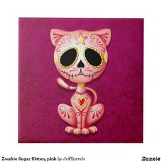 Zombie Sugar Kitten, pink Small Square Tile