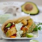 Fried Avocado Tacos Recipe. Made these the other night and they were FABULOUS-O!! I chose NOT to fry the tortillas since mine were fresh and who needs the extra calories anyway?! I also used coconut oil for frying the avocados  because its much healthier and chose red cabbage for an extra pop of color.